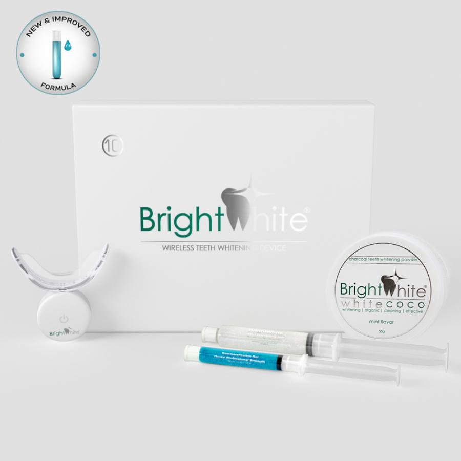Pachet înălbitor dentar BrightWhite® 32 LED pentru 10 utilizări cu cărbune activ de cocos WHITE COCO®
