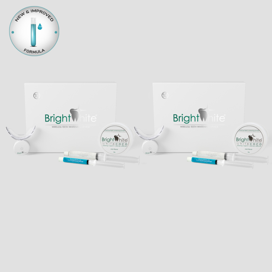 Pachet înălbitor dentar BrightWhite® 32 LED pentru 2x10 utilizări cu cărbune activ de cocos WHITE COCO®