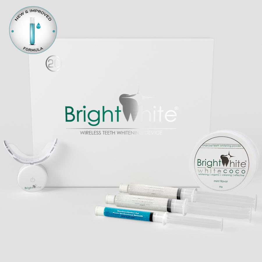 Pachet înălbitor dentar BrightWhite® 32 LED pentru 20 utilizări cu cărbune activ de cocos WHITE COCO®