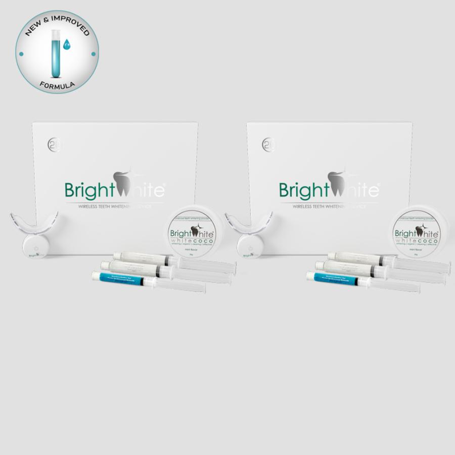 Pachet înălbitor dentar BrightWhite® 32 LED pentru 2x20 utilizări cu cărbune activ de cocos WHITE COCO®